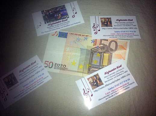 Alleinunterhalter NRW Geld Honorar Preis Rechnung Keyboarder Karl DJ und Live Musiker Nordrhein Westfalen
